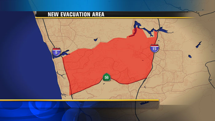 Map of evacuations as of 10:40 am